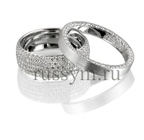 Обручальные кольца парные с бриллиантами